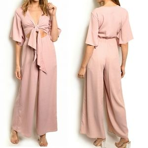 Nude Brand Dusty Pink Tie Front Cut Out Jumpsuot